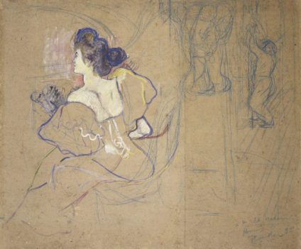 Madame Thadée Natanson (Misia Godebska, 1872–1950) at the Theater Lautrec made this study for the cover of the final issue of L'Estampe Originale (1893–95), a quarterly album of original prints by young French artists. Fittingly, it shows stagehands bringing down the curtain on a performance. In the middle, a plaster elephant stands guard atop a cartouche for the table of contents. Seated at left is Misia Natanson, the glamorous patroness of poets Paul Verlaine and Stéphane Mallarmé, and of artists including Lautrec, Bonnard, and Vuillard. Now restored, this work was once sliced into two pieces and framed so as to reveal only Misia in her loge.