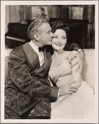 Clifton Webb and Marta Linden in the original Broadway production of Noël Coward's Present Laughter, opened April 29, 1946. Its sixth Broadway production will open April 6, 2017.
