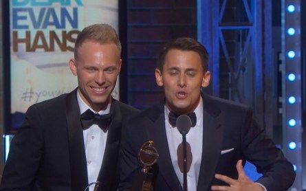 Pasek and Paul accepting their award for best score