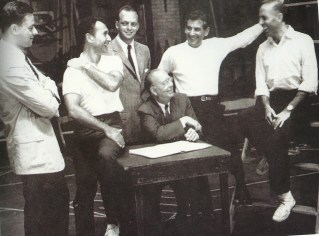 """West Side Story: the original creative team. Sondheim, Laurents, Prince, Bernstein, Robbins and Griffith (seated) (Photofest)"""