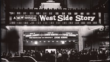"Excited crowds gathered outside the Erlanger Theatre in Philadelphia to see ""West Side Story,"" during its two week out-of-town tryout before it opened on Broadway at the Winter Garden Theatre on September 26, 1957."
