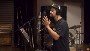 Lin-Manuel Miranda in the recording studio