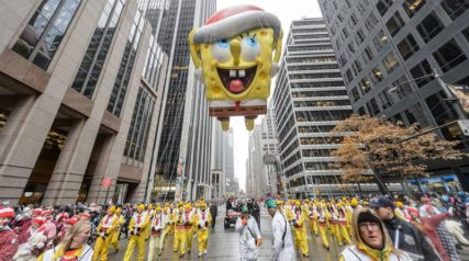 Spongebob Squarepants was in the Thanksgiving Day Parade both as a balloon and as musical