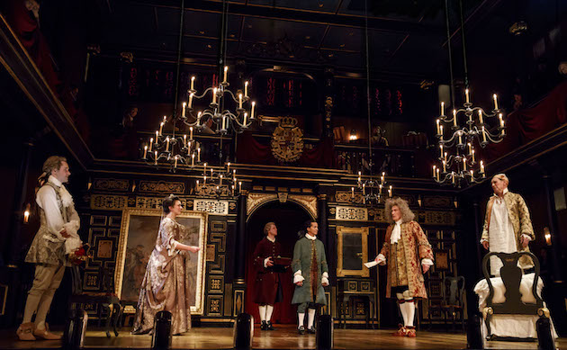 (l-r) Sam Crane, Melody Grove, Lucas Hall, Huss Garbiya, Edward Peel and Mark Rylance Opened in December. The very first moment in Farinelli and the King, the very last play to open on Broadway in 2017, was not just memorable; it was thrilling. It ws the moment we saw the sumptuous set, multi-tiered, rich dark wood, red brocade and pre-electric chandeliers that were lowered in front of us, so that the performers could light the candles in them. What made this so memorable – what makes so many moments in theater worthwhile – is the excitement of anticipating what will follow.