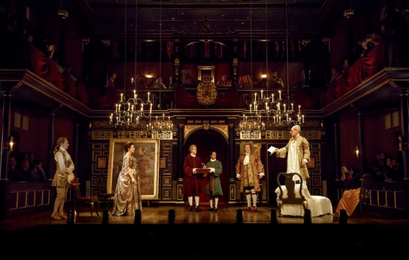 Sam Crane, Melody Grove, Lucas Hall, Huss Garbiya, Edward Peel and Mark Rylance in Farinelli and the King.