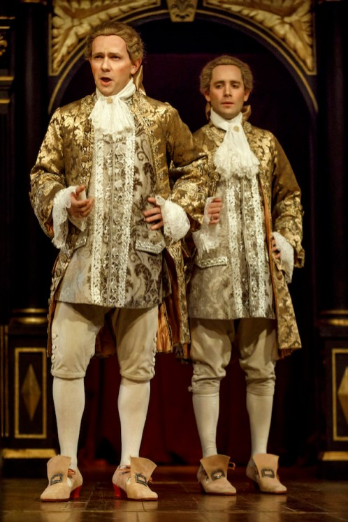 (l-r) Iestyn Davies, Sam Crane as Farinelli the voice, and Farinelli the man,respectively