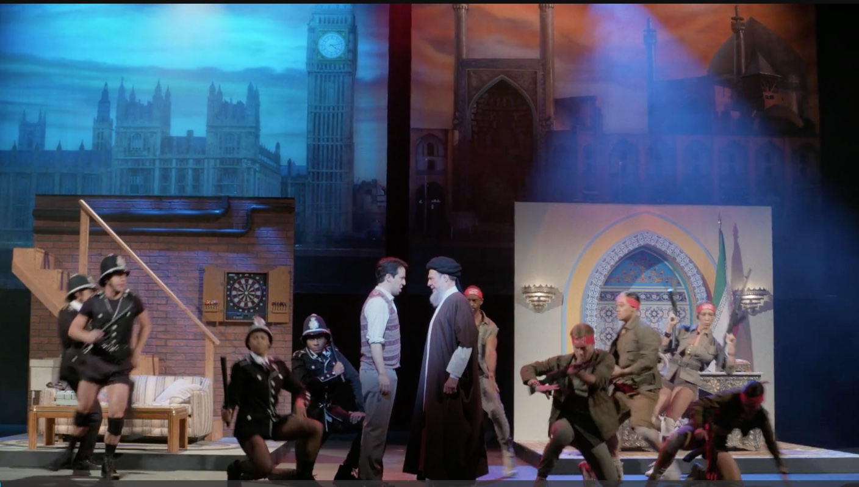 Lin-Manuel Miranda as Salman Rushdie and F. Murray Abraham as the Ayatollah in Fatwa the Musical