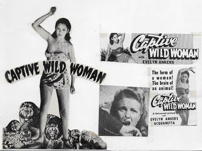 "a poster for the 1943 movie ""Captive Wild Woman,"" co-starring Acquanetta."