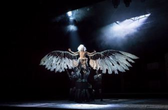 Amanda Lawrence as the tattered Angel in America