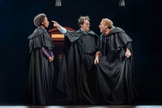 Noma Dumezweni as Hermione, Jamie Parker as Harry Potter, and Paul Thornley as Ron Weasley in Harry Potter and the Cursed Child on Broadway