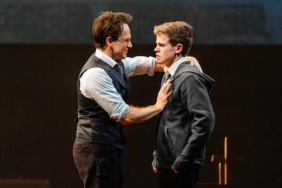 Jamie Parker as Harry Potter and Sam Clemmett as his son Albus