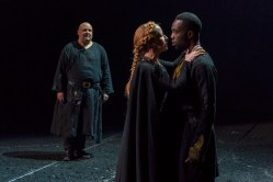From Left: BYRON MONDAHL, NIA GWYNNE & PAAPA ESSIEDU in KING LEAR Royal Shakespeare Company By William Shakespeare Directed by Gregory Doran; dress rehearsal photographed: Saturday, April 7, 2018; 1:30 PM at the BAM Harvey Theater; Brooklyn Academy of Music, NYC; Photograph: © 2018 Richard Termine/BAM PHOTO CREDIT - Richard Termine