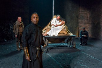 From Left: CLARENCE SMITH (foreground), MIMI NDIWENI & ANTONY SHER in KING LEAR Royal Shakespeare Company By William Shakespeare Directed by Gregory Doran; dress rehearsal photographed: Saturday, April 7, 2018; 1:30 PM at the BAM Harvey Theater; Brooklyn Academy of Music, NYC; Photograph: © 2018 Richard Termine/BAM PHOTO CREDIT - Richard Termine