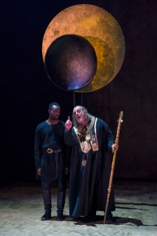 From Left: PAAPA ESSIEDU & DAVID TROUGHTON in KING LEAR Royal Shakespeare Company By William Shakespeare Directed by Gregory Doran; dress rehearsal photographed: Saturday, April 7, 2018; 1:30 PM at the BAM Harvey Theater; Brooklyn Academy of Music, NYC; Photograph: © 2018 Richard Termine/BAM PHOTO CREDIT - Richard Termine