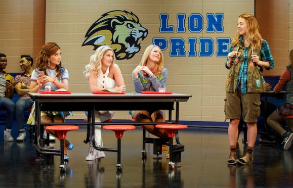 Left to right, Ashley Park as Gretchen Wieners, Taylor Louderman as Regina George, Kate Rockwell as Karen Smith, Erika Henningsen as Cady Heron