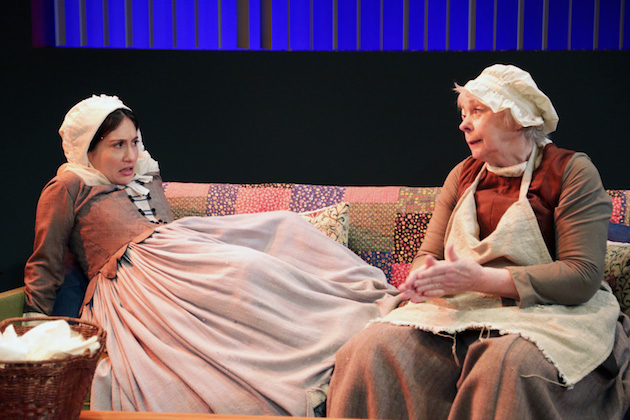 """Luciy DeVito as pregnant Mary and Jenny O'Hara as the 18th century midwife in """"Bump"""""""