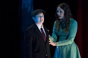 """RISE -- """"Opening Night"""" Episode 110 -- Pictured: (l-r) Ellie Desautels as Michael Hallowell, Amy Forsyth as Gwen Strickland -- (Photo by: Virginia Sherwood/NBC)"""