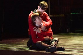 """RISE -- """"Opening Night"""" Episode 110 -- Pictured: (l-r) Sean Grandillo as Jeremy, Ted Sutherland as Simon Saunders, portraying the characters Ernst and Hänschen during the gay love scene in the musical """"Spring Awakening"""" -- (Photo by: Virginia Sherwood/NBC)"""