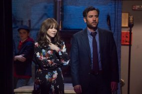 """RISE -- """"Opening Night"""" Episode 110 -- Pictured: (l-r) Rosie Perez as Tracey Wolfe, Josh Radnor as Lou Mazzuchelli -- (Photo by: Virginia Sherwood/NBC)"""