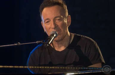 "Bruce Springsteen reminiscing at the Tony Awards about his hometown while accompanying himself on the piano, before singing ""My Hometown."""