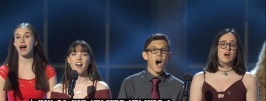"""1. The drama students from Marjory Stoneman Douglas High School in Parkland, Florida, singing """"Seasons of Love"""" from Rent, right after the Tony for Excellence in Theater Education was given to their drama teacher,Melody Herzfeld, who sheltered 65 students in her office for two hours during the mass shooting on Valentine's Day."""
