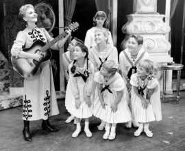 Sound of Music (1959-1963, Broadway) Music by Richard Rogers, Lyrics by Oscar Hammerstein, Book by Howard Lindsay & Russel Crouse Directed by Vincent J. Donehue Shown from left: (top) Mary Martin, Joseph Stewart, Kathy Dunn, William Snowden, Lauri Peters; (front) Marilyn Rogers, Evanna Lien, Mary Susan Locke