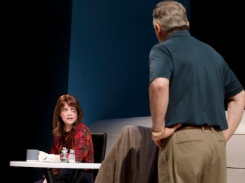 Kellie Overbey as Mary Page Marlowe at 50 in a confrontation with David Aaron Baker as her second husband.