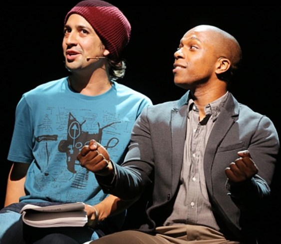Lin-Manuel Miranda and Leslie Odom Jr in Tick,Tick...Boom in 2014