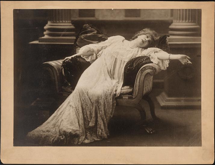 "Sarah Bernhardt in the title role of ""Adrienne Lecouveur"" in 1880. The play is about the leading French actress of the 18th century and her mysterious death."