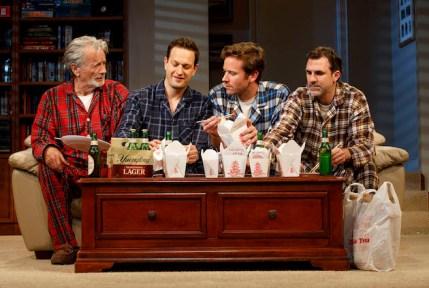 Stephen Payne, Josh Charles, Armie Hammer, and Paul Schneider in Straight White Men, Broadway 2018