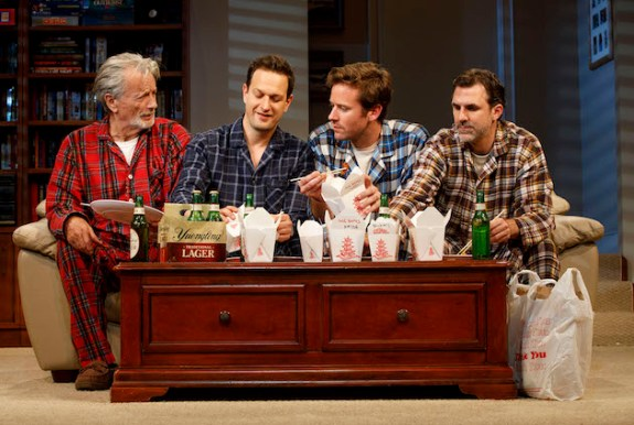 Stephen Payne, Josh Charles, Armie Hammer, and Paul Schneider in Straight White Men, Broadway 2018