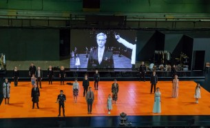 Stage: Ensemble cast; Screen: Didier Sandre (Baron Joachim Von Essenbeck) in Ivo van Hove's The Damned at Park Avenue Armory