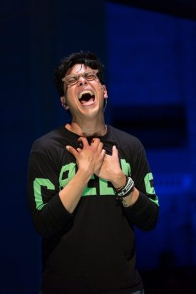 "In ""Be More Chill,"" George Salazar sings a show-stopping number ""Michael in the Bathroom At A Party,"" which includes lyrics that couldn't be more straightforward, or more affecting: I am hanging in the bathroom At the biggest party of the fall/ I could stay right here or disappear/ and nobody's even notice at all"