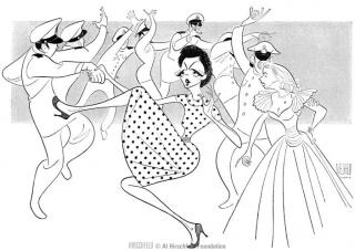 Rosalind Russell and Edith Adams in Wonderful Town, 1953. Sketched by Al Hirschfeld