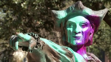 Statue of Christopher Columbus in Houston last year, after vandals threw paint on it.