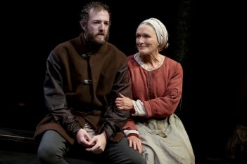 Andrew Hovelson as Pierre Arc (Joan's brother) and Glenn Close as Isabelle Arc (Joan's Mother) in Mother of the Maid