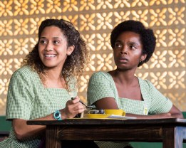 "L-R: Joanna A. Jones and MaameYaa Boafo in the MCC Theater production of ""School Girls; Or, the African Mean Girls Play"""