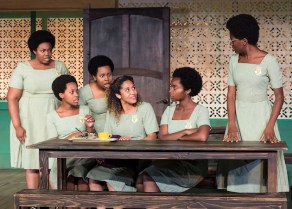 "L-R: Abena Mensah-Bonsu, Mirirai Sithole, Paige Gilbert, Joanna A. Jones, MaameYaa Boafo and Latoya Edwards in the MCC Theater production of ""School Girls; Or, the African Mean Girls Play"""