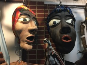 puppets in storage at the La MaMa archives