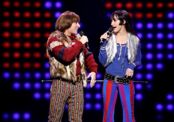 Jarrod Spector as Sonny Bono and Micaela Diamond as Babe