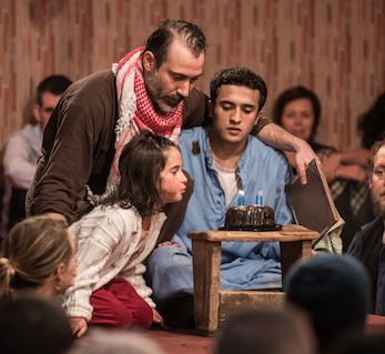 "Vera Gurpinar (little girl), Ben Turner, Mohammad Amiri in ""The Jungle"" written by Joe Murphy and Joe Robertson, which returns to St. Ann's Warehouse in April"