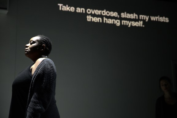 """4.48 Psychosis,"" an opera based on Sarah Kane's play about her mental illness, featured this exchange, the words projected onto the back wall as the performers sang them: Have you made any plans? With the words projected onto the back wall, the psychiatrist had the following exchange with the patient: Have you made any plans? Take an overdose, slash my wrists then hang myself. All those things together? It couldn't possibly be misconstrued as a cry for help."