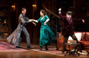 "Harry Hadden-Paton, Laura Benanti and Allan Cornuer in ""The Rain in Spain Stays Mainly in the Plain"""