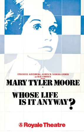 """For this play about a hospital patient, the producers wanted something hopeful and upbeat, not depressing. """"In my design I chose to focus on the white tiles one finds in most hospitals. These blocks were then pieced together to form the portrait"""" -- first of star Tom Conti and, then, of his replacement a year later, Mary Tyler Moore."""