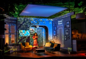 Keren Lugo in set designed by Robin Vest, projection design by Brad Peterson