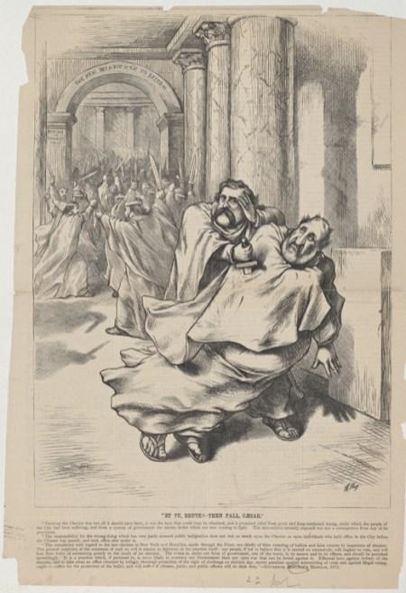 "Cartoonist Thomas Nast compared William ""Boss"" Tweed to Caesar in this political cartoon in 1872"