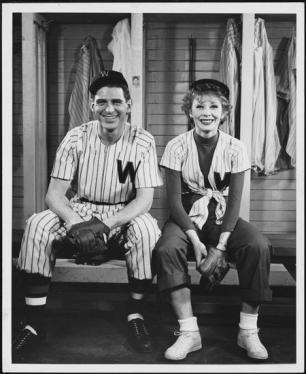 "Gwen Verdon as Lola and Stephen Douglass as Joe Hardy in ""Damn Yankees"""