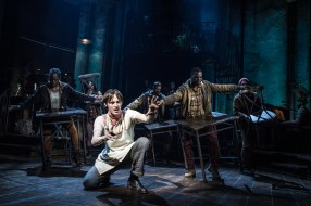 Reeve Carney as Orpheus and the Broadway cast
