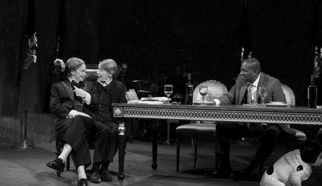 Ruth Wilson as the Fool, Glenda Jackson as King Lear and John Douglas Thompson as the Earl of Kent