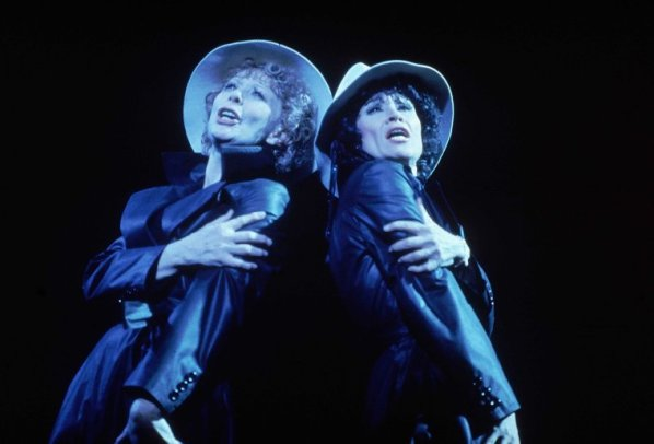 """Actresses (L-R) Gwen Verdon as Roxie Hart & Chita Rivera as Velma Kelly in scene fr. the original Broadway production of the musical """"Chicago."""" (New York), 1975. Fosse directed, choreographed and wrote the book."""